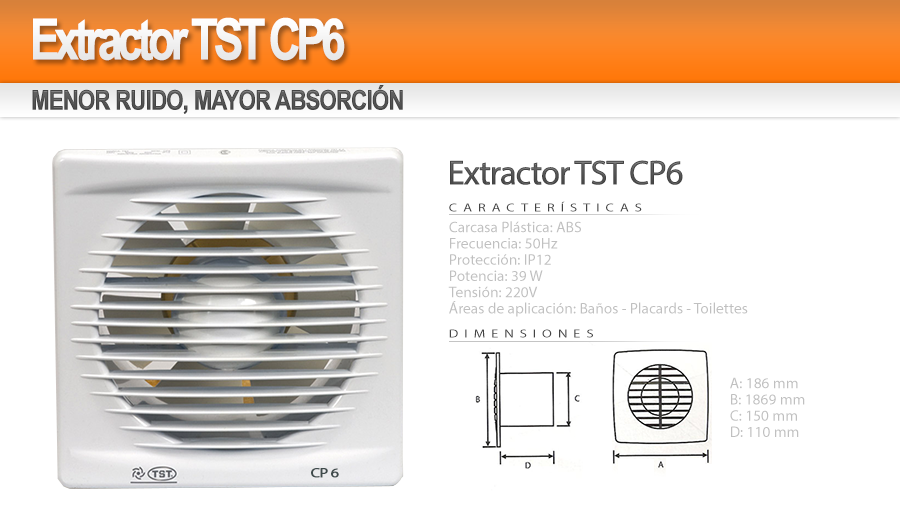 Extractor de ba o tst cp6 blanco nuevo garantia 465 - Precio extractor bano ...